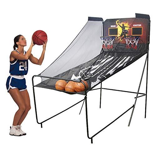 Juego de Baloncesto Juego de Arcade de Baloncesto para Adultos en Interiores, Juegos de Aros de Baloncesto Electrónicos para 2 Jugadores, Incluye Marcador LED, 5 Bolas y Bomba de Aire