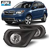 CPW Compatible with [2014 2015 2016 Subaru Forester] Clear Lens Bumper Driving Fog Lights Pair + Wiring + Switch Kit