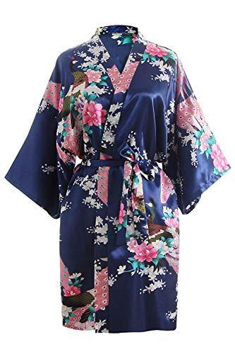OLESILK Damen Kurz Morgenmantel Satin Kimono Morgenrock Kurzarm Robe Bademantel mit Gürtel V-Ausschnitt Nachtwäsche Negligee mit Pfau und Blumen Muster, Marineblau