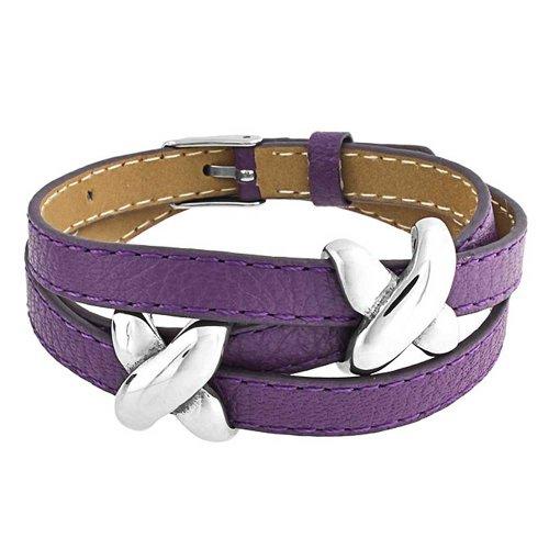 Bling Jewelry Boho Genuino púrpura Cuero Amor Diapositiva E