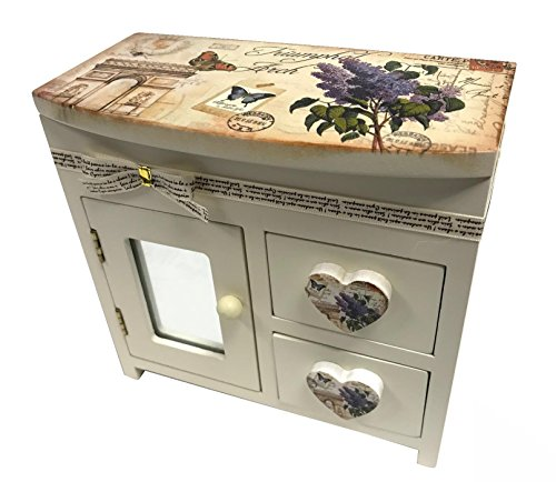 Make-up-Box aus Holz, Vintage-Stil, mit Spiegeln, für Ringe, Schmuck, Perlen und Ohrringe, Organizer