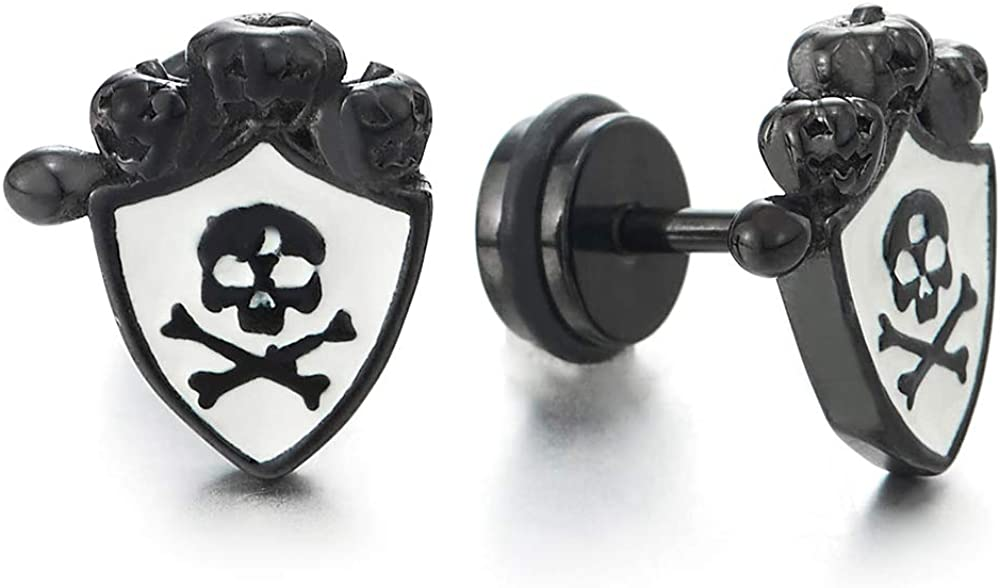 Mens Black Steel Clown Pirate Skull Shield Stud Earrings with White Enamel, Screw Back, 2pcs