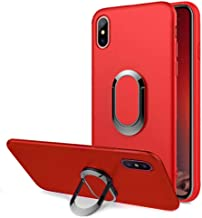 Aearl iPhone XR Case,iPhone XR Case 360 Degree Rotation Metal Finger Ring Grip Holder Kickstand Soft Scrub TPU Protective Case with Support Magnetic Car Mount Function for Apple iPhone XR 6.1 2018-Red