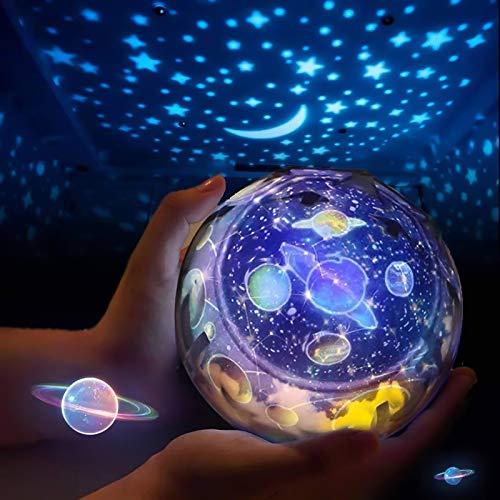 HaavPoois Estrella Proyector de Luz Nocturna para Niños, lampara nocturna infantil USB Lámpara de Proyección 3 Estrellas Regulable Colorida y Romántica Cielo