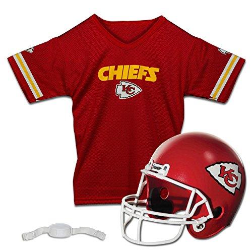 Franklin Sports NFL Kansas City Chiefs Kids Football Helmet and Jersey Set - Youth Football Uniform Costume - Helmet, Jersey, Chinstrap - Youth M