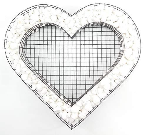 Gartenwelt Riegelsberger Herz Gitter mit Carrara Kies für Allerheiligen Grabschmuck Grabgestaltung Grabdeko Pflanzschale
