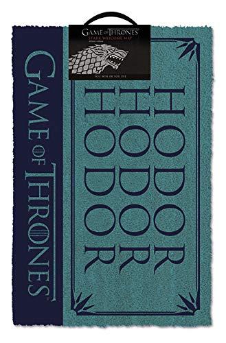Juego de Tronos – Felpudo para puerta/piso (tamaño: 61 x 40,6 cm) (felpudo) (Hodor)