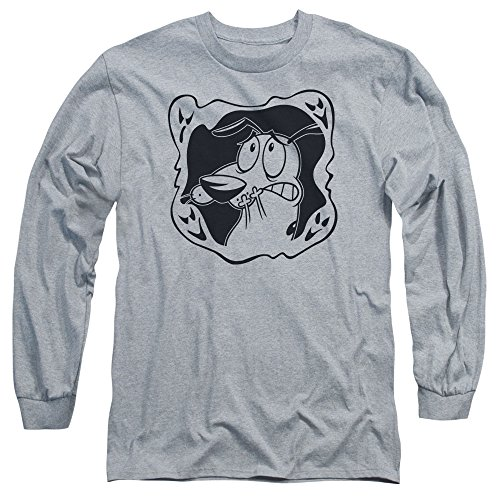 Courage The Cowardly Dog - Ghost Frame hommes manches T-shirt long, X-Large, Athletic Heather