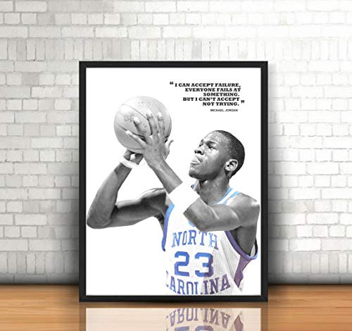 Michael Jordan North Carolina Poster, Canvas for Wall Art Decor, Gym, Kids, Gift, Home, Bedroom, Office Decor, Man cave with Quote (Premium Print 8x10)- Portrait