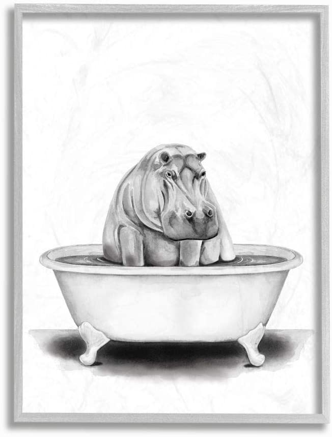 Stupell Industries Max 58% OFF Hippo in A Funny Drawing Bathroom Tub Spasm price Animal