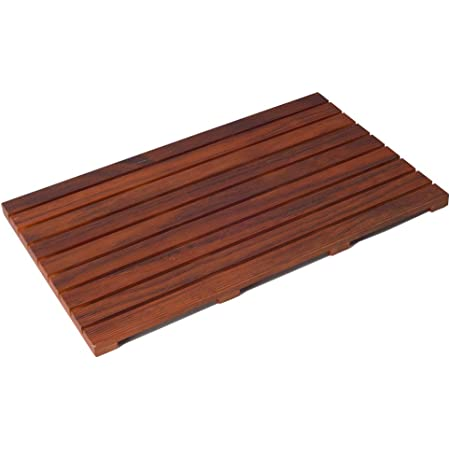 "Utoplike Teak Wood Bath Mat Wooden Floor Mat Square Large for Spa Home or Outdoor Shower Mat Non Slip for Bathroom 24/""x18/"""