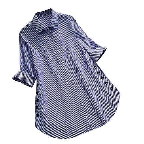 mit Rundhalsausschnitt Damen langärmeliges t-Shirt mit rundem Ausschnitt Damen Grosse grössen Oberteile v Ausschnitt Kurzarm t-Shirt Tunika Tops Damen Lange/Kurze Ärmel v-Ausschnitt(4XL,Blau)
