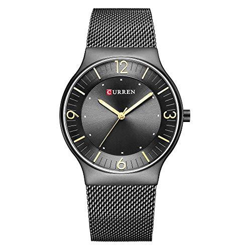 Reloj de Cuarzo para Hombre Reloj de Acero Inoxidable Resistente al Agua con cronómetro-D