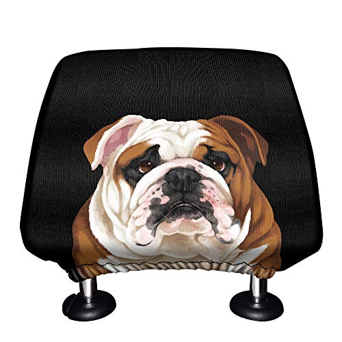 WIRESTER Car Seat Head Rest Cover, Protective Fabric Design Cover Decoration for All Cars - Cute English Bulldog
