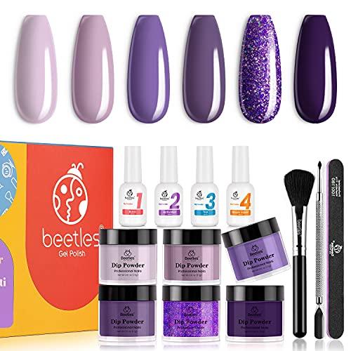 Beetles 6 Colors Dip Powder Nail Kit Starter - Purple Glitter Nail Dipping Powder Kit for...