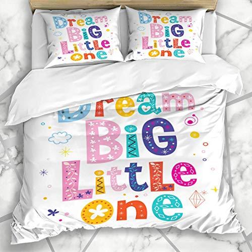 Soefipok Ensemble de Housse de Couette Baby Dream Big Little One Enfants Enfants Art Nursery Dire Les Enfants Inspiration Lettrage Message Literie en Microfibre avec 2 taies d'oreiller
