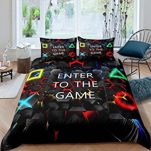 Juego de Gamepad, Funda de edredón geométrica, Hexagonal, Videojuegos, Juego de Videojuegos, Colcha de Nido de Abeja, de la habitación, 3 Piezas