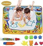 Senders Wasser Doodle Matte, Super Groß 120x90cm Magic Malmatte mit 2 Magischer Stift und 8 Zeichnungsvorlagen Wiederverwendbare Wasser Zeichnen Matte - Geschenke für Kinder