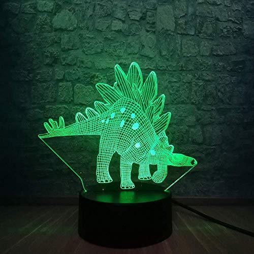 Verjaardagskaart voor jongens in de kleur van de dinosaurus LED 3D-lamp van Stegosauria