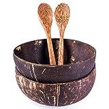 2er Set Schalen und Löffel aus echter Kokosnuss | Handgemacht, vegan, umweltfreundlich | Poliert mit Kokosnussöl | Perfekt für Nudeln, Smoothies, Müsli