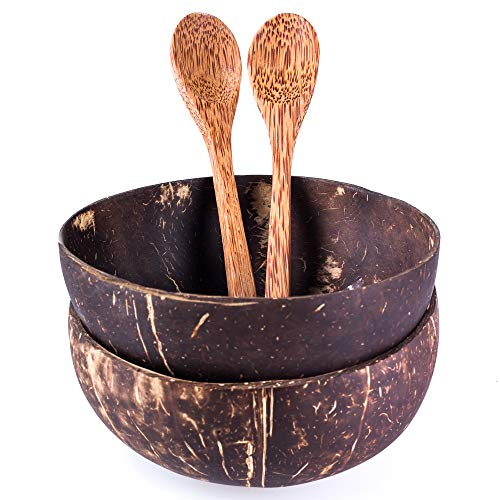 Set of 2 Coconut Bowls and Coconut Spoons - Handmade - Natural - Eco-friendly - Great for Serving Noodle, Pasta, Smoothie, Porridge, Cereal - Polished with coconut oil - Gift for Vegans