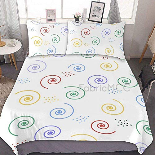 882 Duvet Cover Sets, Microfiber Bedding Set Twin Size, Color Spiral Decorative 3 Piece Bedding Set with 2 Pillow Sham, Without Sheets