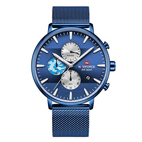 Reloj para Hombre de Acero Inoxidable Resistente al Agua con Correa de Metal-D