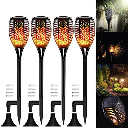 4 Stück Solar Flammenlicht Mit Zubehör, Swonuk Solarlampe Garten Fackeln IP65 Wasserdicht Solarleuchten für außen mit Realistischen Flammen Automatische EIN/Aus Außen Warmlicht