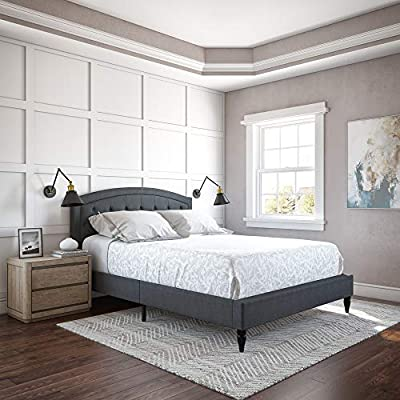Classic Brands Wellesley Upholstered Platform Bed | Headboard and Metal Frame with Wood Slat Support, Queen, Grey