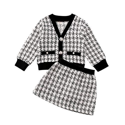 Loalirando Baby Girls' Tweed Cardigan + Mini Skirt Princess Dress, Autumn/Winter Clothing Set Schwarz 2 4-5 Jahre