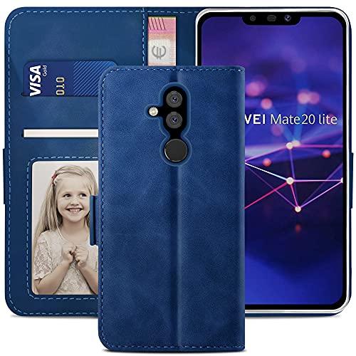 YATWIN Handyhülle Huawei Mate 20 Lite Hülle, Klapphülle Huawei Mate 20 Lite Premium Leder Brieftasche Schutzhülle [Kartenfach][Magnet][Stand] Handytasche für Huawei Mate 20 Lite Case, Blau