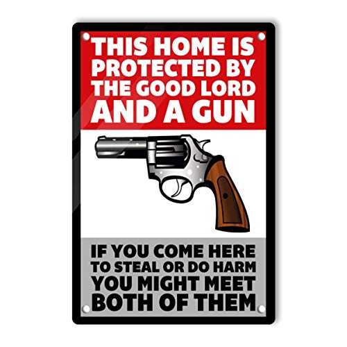The Owner of This Property is Armed Sign 8 x 12 Inches Aluminum Warning Signs, Home or Outdoor, UV Protected & Waterproof