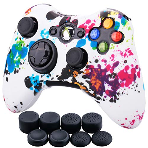9CDeer 1 Piece of Silicone Water Transfer Protective Sleeve Case Cover Skin + 8 Thumb Grips Analog Caps for Xbox 360 Controller, Splashing Graffiti
