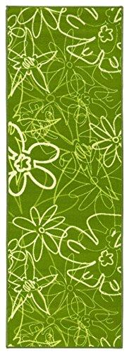 Küchenläufer in Grün, pflegeleichter und robuster Läufer mit Blumenmuster, schadstoffgeprüfter Teppichläufer, Größe:67x120 cm, Farbe:Grün