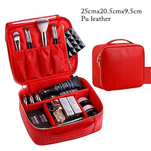 OYHBGK Caisse de rangement imperméable de maquillage portatif de maquillage cosmétique professionnel rose/rouge/noir de sac