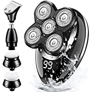 Electric Shavers for Men, GOOLEEN Bald Head Shaver Cordless Electric Razor Set Grooming Kit 5 in 1 Wet & Dry 4D Hair Clippers Nose Hair Beard Trimmer Facial Cleansing Brush Waterproof USB Rechargeable