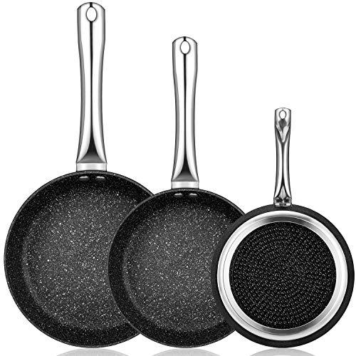 Smile Mineral Set Juego 3 Sartenes 20-24-28 cm, Inducción, 3 Capas Antiadherente Piedra sin PFOA PTFE,Libre Cadmio, Aluminio, Mango Profesional, Apta para Todas Las cocinas, Vitrocerámica, Gas