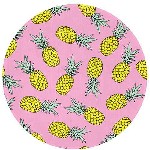 W-WEE Verano Piña Fruta Cómodo Cojines Antideslizantes Alfombra Redonda Alfombra Redonda Alfombrilla Linda Alfombra de baño Redonda 60cm