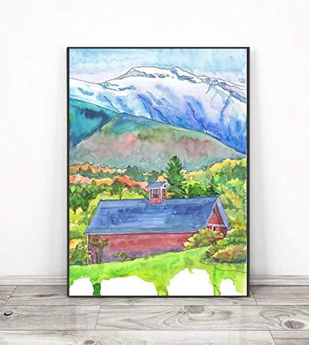 DIY Pintar por números Mount Vermont Kit de Pintura al óleo guiada Mediante números, para niños y Adultos Principiantes