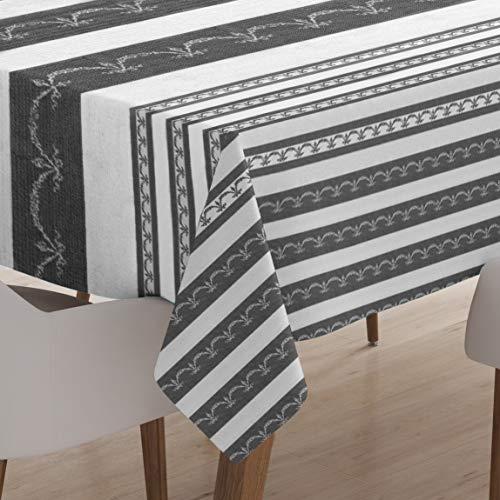 Encasa Homes Tovaglia Stampata 142 x 182 cm per Tavolo da Pranzo, 100% Cotone, Lavabile in Lavatrice, Resistente, Rettangolare, per la casa, Ristorante, Banchetto - Grey Bunting