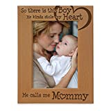 KATE POSH So There is This Boy He Calls me Mommy - Natural Engraved Wood Photo Frame - Mother and Son Gifts, Mother's Day, Best Mom Ever, New Baby, New Mom (5x7-Vertical)