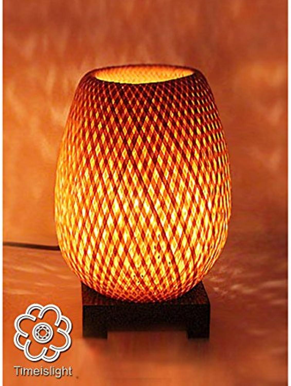 Nachttischlampe aus Bambus geflochten doppelte Haut & Dimmer ≈  14 cm x h 23,5 cm
