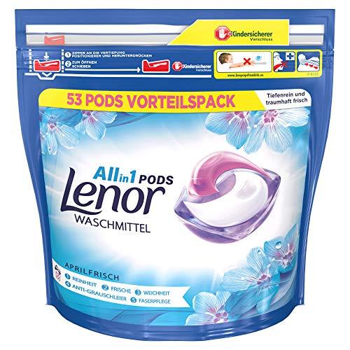Lenor Waschmittel Pods All-in-1, 53 Waschladungen, Lenor Aprilfrisch mit Duft von Frühlingsblumen
