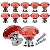 YCDC Pomos de cristal para cajones y cajones, con forma de diamante, 30 mm, para aparador y cocina, armario y armario (10 unidades), color rojo