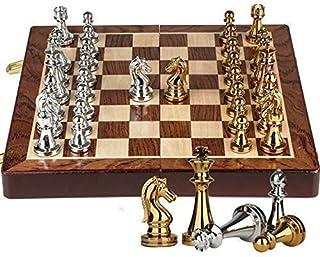 Chess Set,International Chess Metal Chess Set Chess Game King Height 67mm Game of Iternational Chess Wooden Folding Chessb...