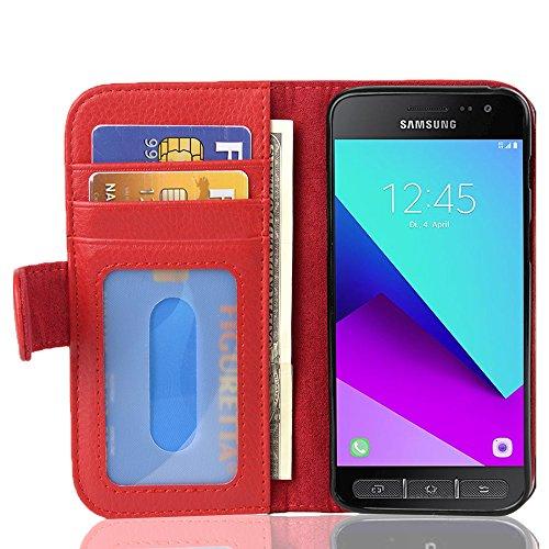Cadorabo Hülle für Samsung Galaxy XCover 4 / XCover 4S in Inferno ROT – Handyhülle mit Magnetverschluss & 3 Kartenfächern – Hülle Cover Schutzhülle Etui Tasche Book Klapp Style