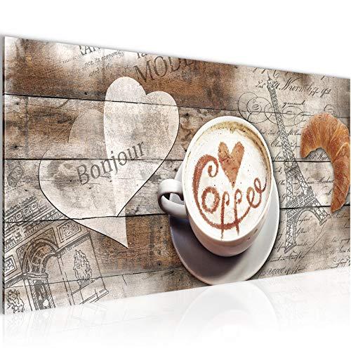 Wandbilder Kaffee Küche Modern Vlies Leinwand Wohnzimmer Flur Vintage Holz Beige Braun 012812b