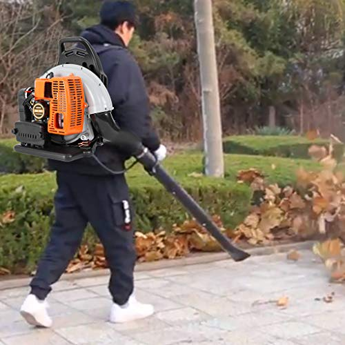 Cordless Backpack Leaf Blower, Gas Powered Leaf Blower Lightweight Dust Vacuum/Sweeper for Garden Lawn Care, 3Hp High Performance Gas Powered Back Pack Leaf Blower 2-Stroke 63cc