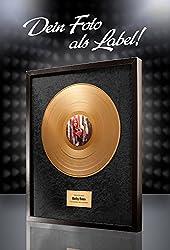 Goldene Schallplatte mit eigenem Foto - Geschenk zur Goldenen Hochzeit - Hintergrund schwarz