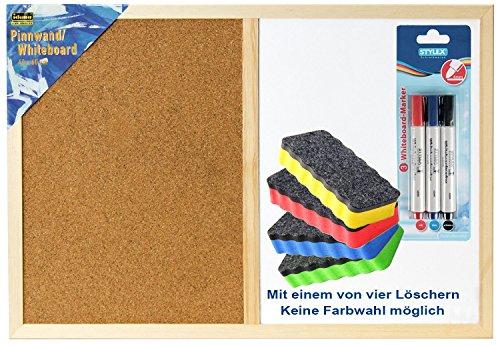 Idena 568016 Pinnwand & Whiteboard mit Holzrahmen, 40 x 60 cm, inkl. 2 Schrauben / Kombi-Set (inkl. Marker & Löscher)